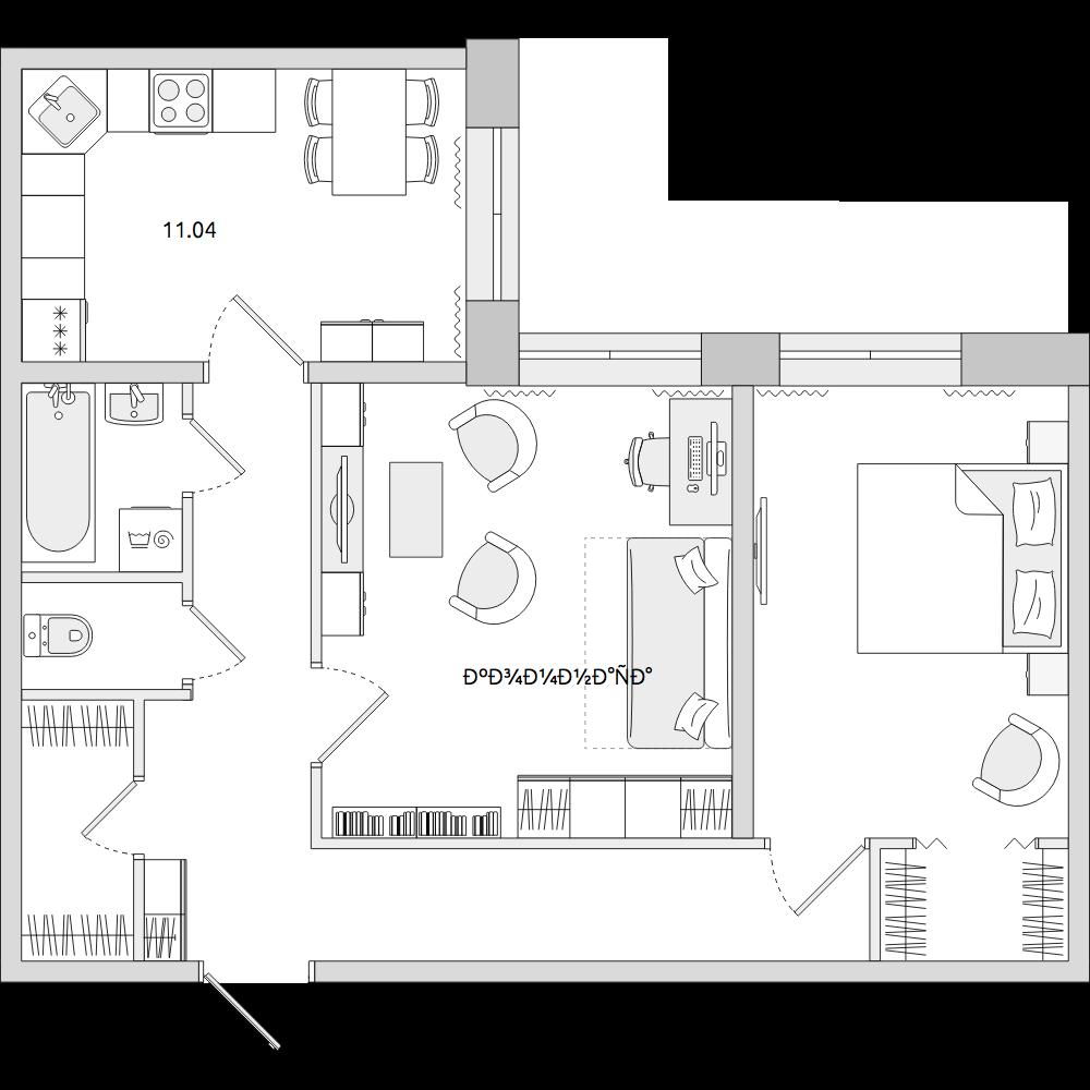 Планировка Двухкомнатная квартира площадью 59.71 кв.м в ЖК «ЦДС «Весна 3»»