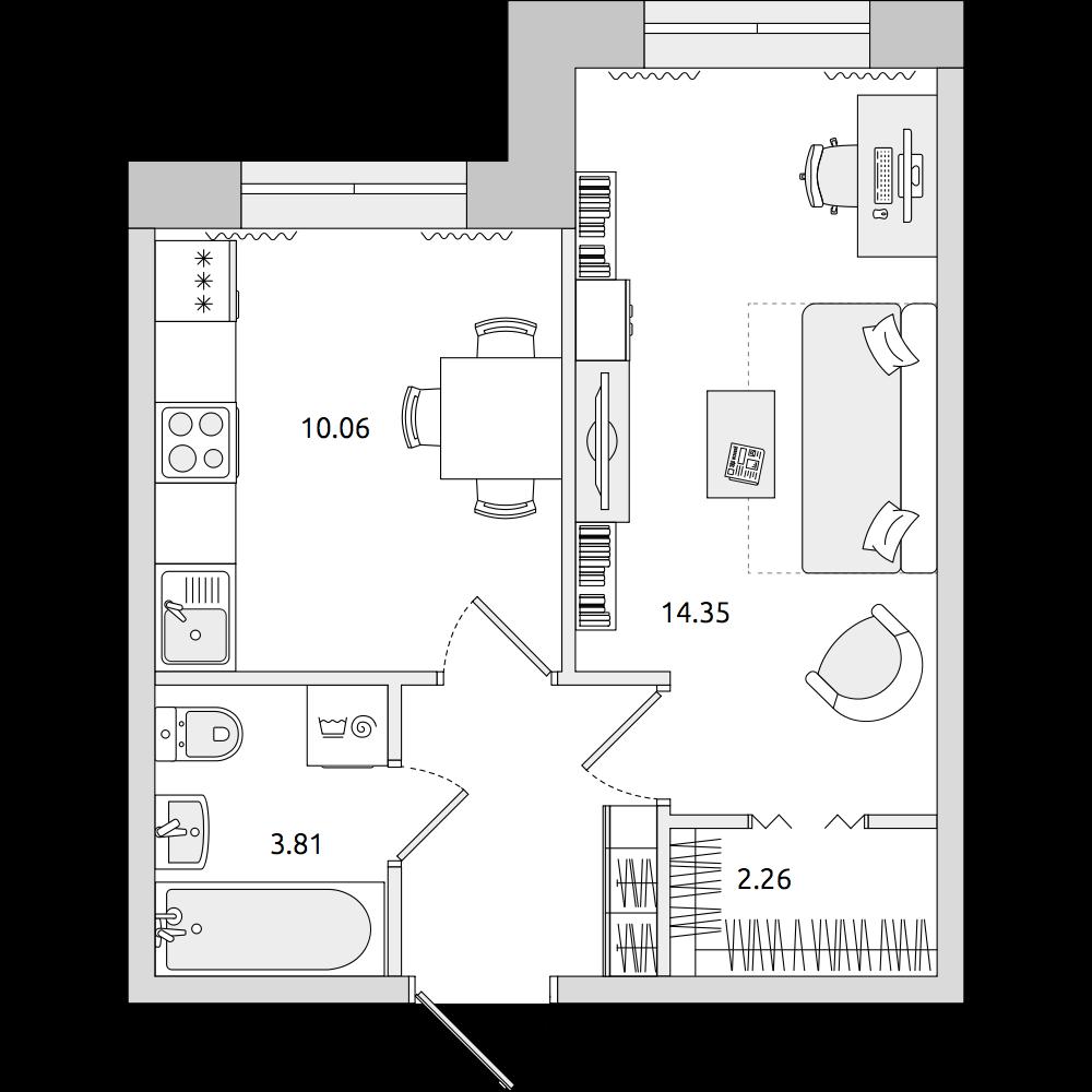 Планировка Однокомнатная квартира площадью 34.71 кв.м в ЖК «ЦДС «Весна 3»»