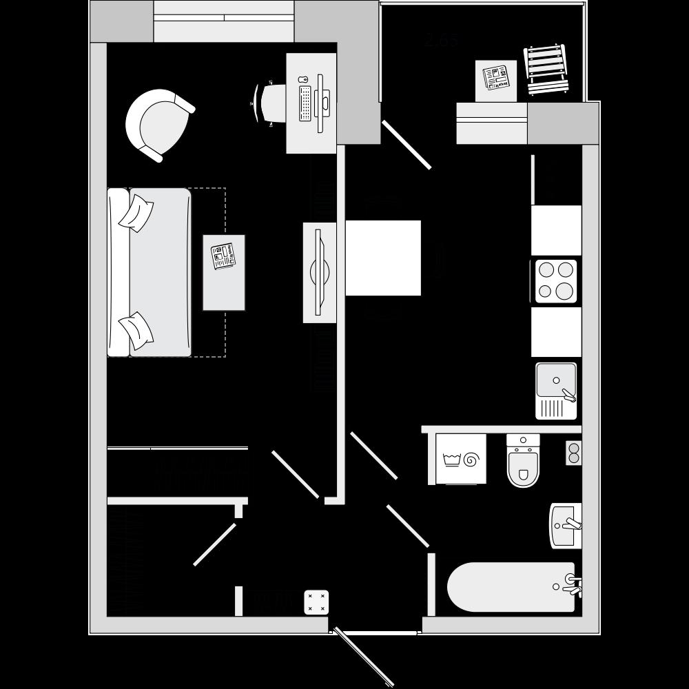 Планировка Однокомнатная квартира площадью 36.36 кв.м в ЖК «ЦДС «Весна 3»»