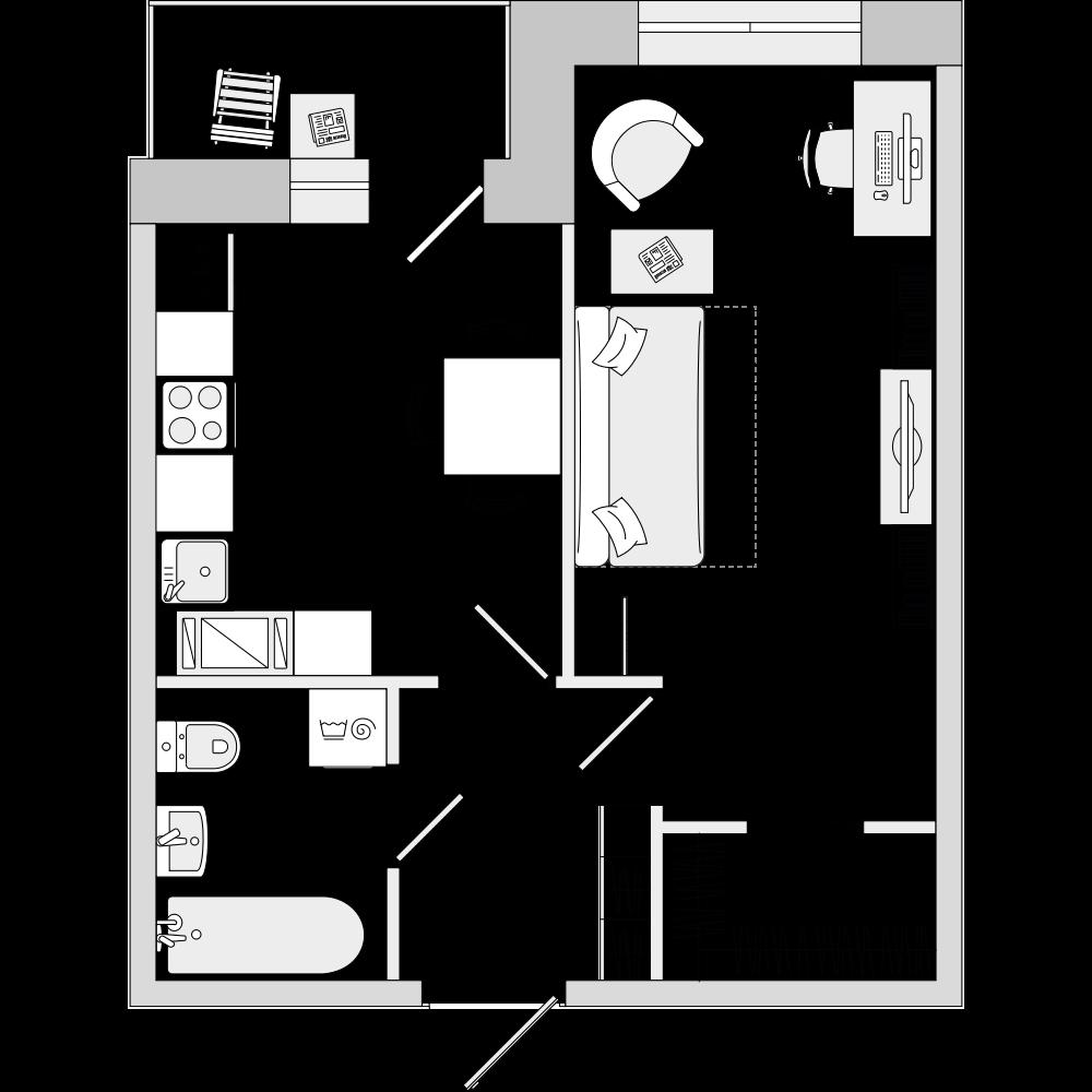 Планировка Однокомнатная квартира площадью 37.14 кв.м в ЖК «ЦДС «Весна 3»»