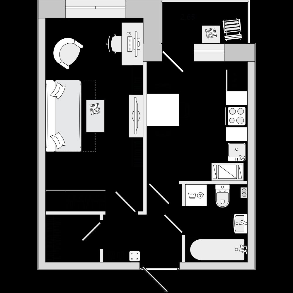 Планировка Однокомнатная квартира площадью 35.81 кв.м в ЖК «ЦДС «Весна 3»»