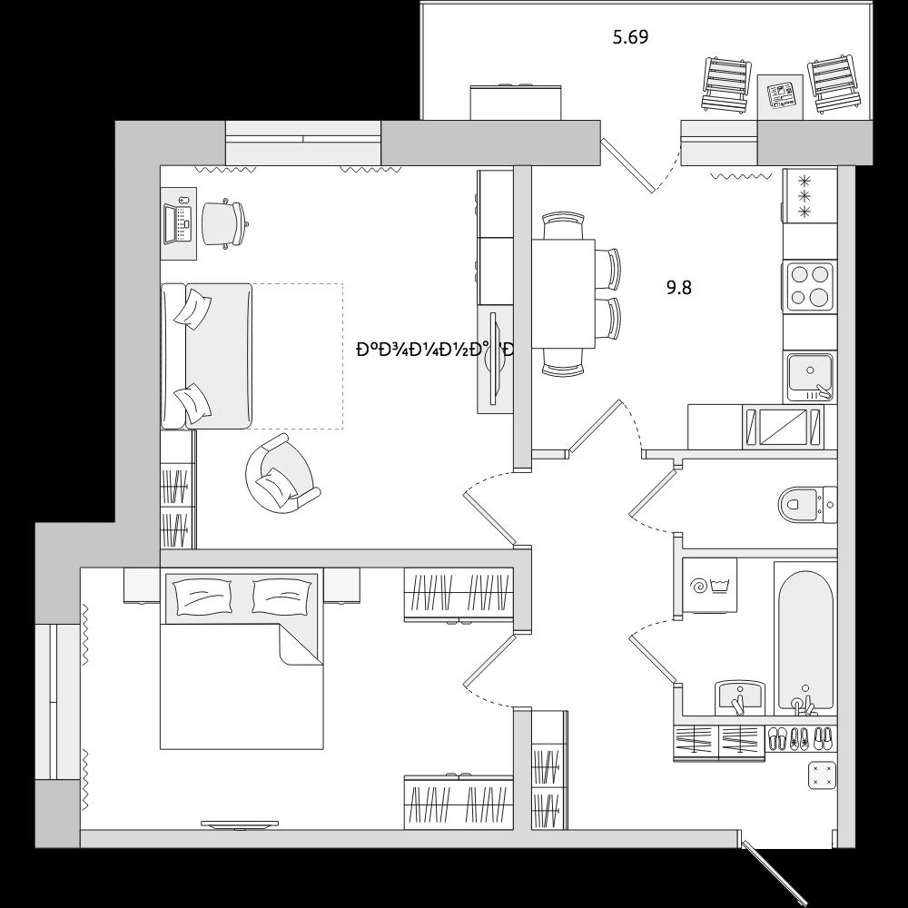 Планировка Двухкомнатная квартира площадью 57.86 кв.м в ЖК «ЦДС «Весна 3»»