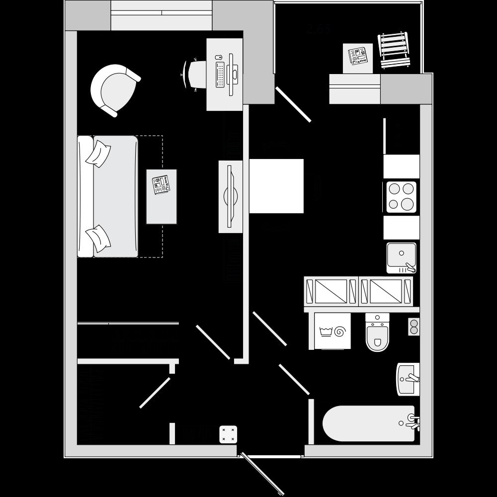Планировка Однокомнатная квартира площадью 35.33 кв.м в ЖК «ЦДС «Весна 3»»